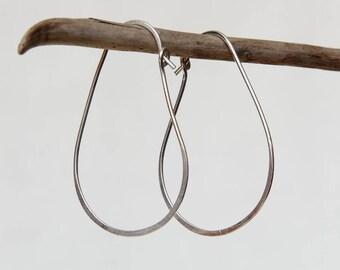 Hypoallergenic Hoop Earrings.Silver Wire Earrings.Modern Hoop Earrings.Minimal Artisan Handmade.Birthday Gift For Her.Argentium Eco Silver.