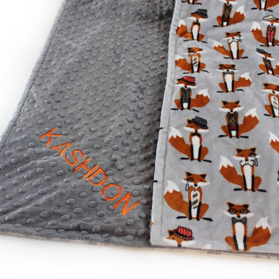 Baby Boy Minky Baby Blanket, Personalized Baby Blanket, Rust Gray Fox Baby Blanket, Woodland Blanket, Baby Shower Gift, Name Baby Blanket
