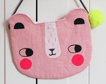 Linen Bear Bag Pink Kids Purse