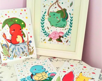 Pokemon art print set- Gen 1 pokemon prints- A5 art prints- squirtle, bulbasaur, charmander, pikachu- starter pokemon art prints