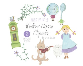 Watercolor clip art-Mother goose, nursery rhyme, nursery art, Mary and her little lamb, clock and mouse,cat and fiddle, Commercial Use