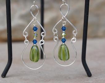 Green Earrings, Wire wrap earrings, Swarovski crystal earrings, Dangle earrings