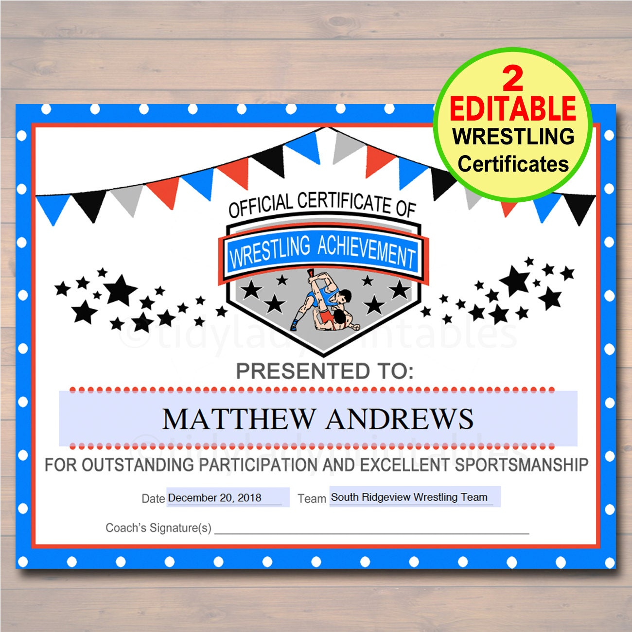 Editable wrestling award certificates instant download zoom alramifo Image collections