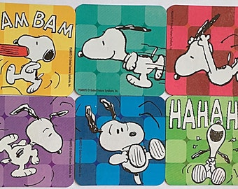 Snoopy Refrigerator Magnets, Kids Birthday Party Favors, 6 Fridge Magnets Set, Peanuts Beagle Dog, Charlie Brown
