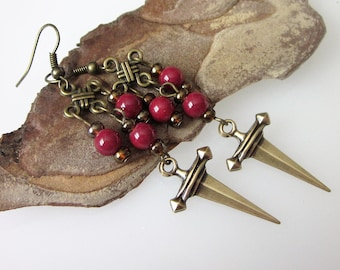 Bohemian Brass Earrings, Bohemian Jewelry, Dagger Earrings, Boho Weapon, Gothic Sword, Celtic Jewelry