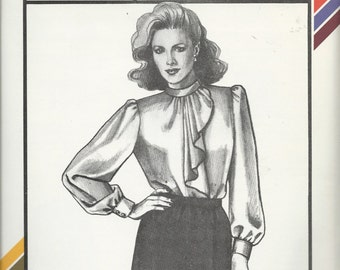 Uncut Vintage Sewing Pattern - SIDE JABOT BLOUSE - Stretch & Sew Pattern - by Ann Person - c. 1984- Sizes - 30 - 46- Very Graceful Look!