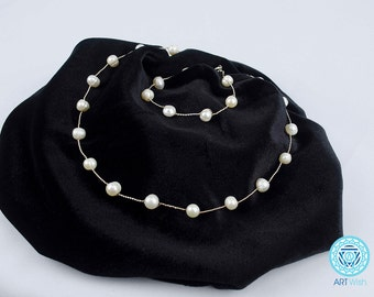 Jewelry Set with Freshwater Pearls - Handmade set - Atristic Jewelry- Silver Jewelry