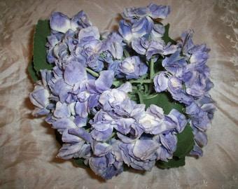 Antique violets large bunch Paris tag