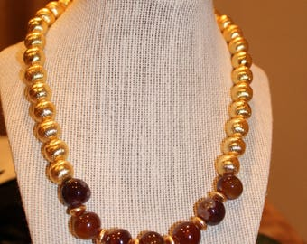 Brushed Gold and Red Beaded Necklace