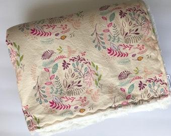 Baby Girl Blanket, Minky Blanket, Boho Baby, Raspberry Blanket, Fleet and Flourish Fabric, Modern Baby Gift