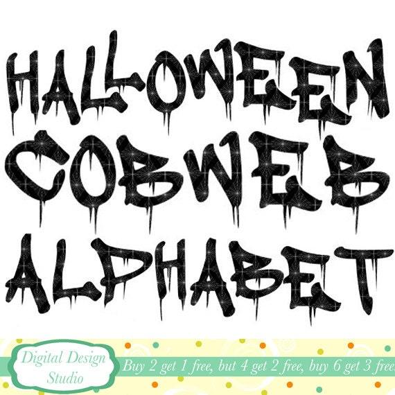 Spooky Halloween Alphabet clip art set. INSTANT DOWNLOAD Personal ...