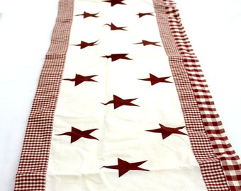 Primitive red star table runner centerpiece table topper