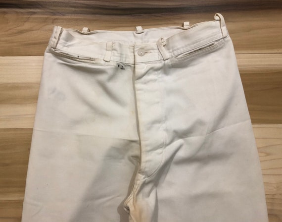 1940s US Navy Sailor Pants White High Waist Wide Leg White Cotton Fly Made in USA 26 Waist