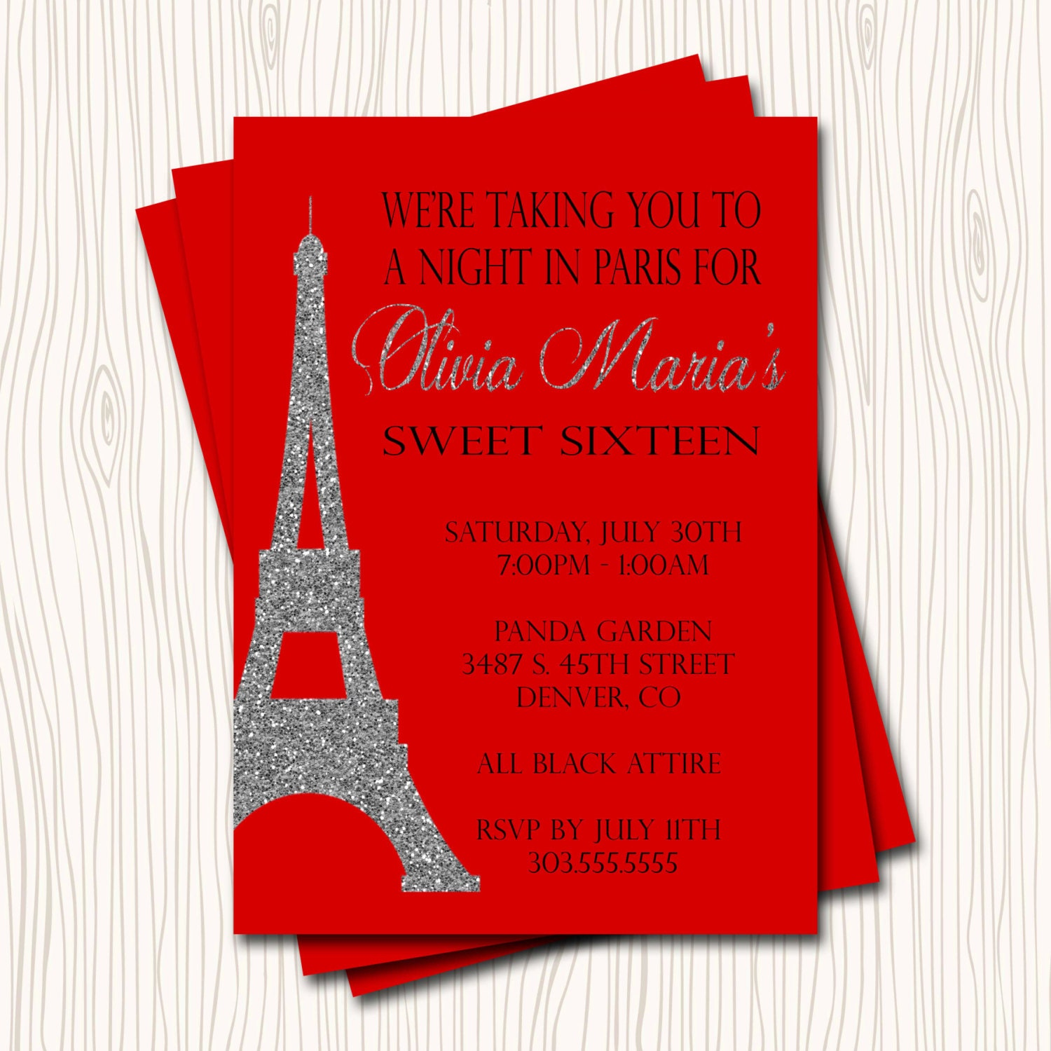 Paris Eiffel Tower Sweet 16 Sixteen Birthday Party Invitation