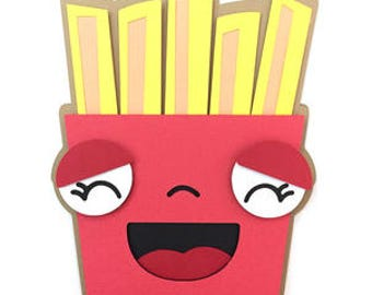 Happy Fries Card , Blank inside  , Free Shipping , Kids , Fun , Family , Friends , Birthdays , Jokes
