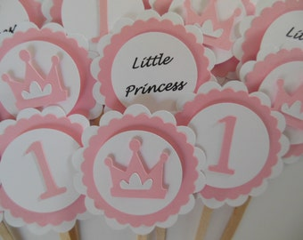 Little Princess 1st Birthday Cupcake Toppers - Pink - Girl Birthday Party Decorations - Set of 12