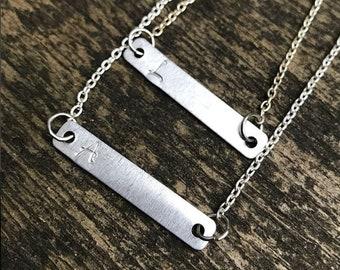Custom initial bar necklace, silver