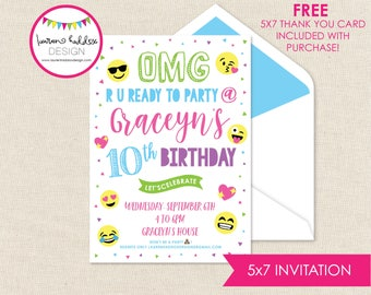 Emoji Birthday Invitation, Emoji Invitation, Emoji Birthday, Emoji Printables, Emoji Birthday Decorations, Lauren Haddox Designs