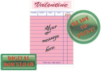 Valentine Custom Printable Diner Guest Check Card Personalize Add Message Pink Party Tag Love Rockabilly Retro Holiday Gift Vintage Ephema