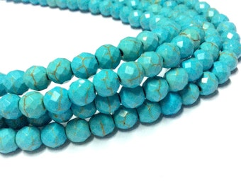 4,6,8,10mm Turquoise Faceted Beads - 14 inch Full strand - Faceted Turquoise