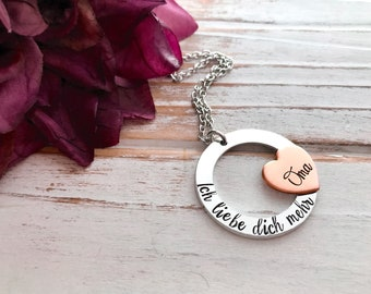 German Mother's Day Ich Liebe Dich Mehr Oma I Love You More Grandma Hand Stamped Washer Heart Pendant
