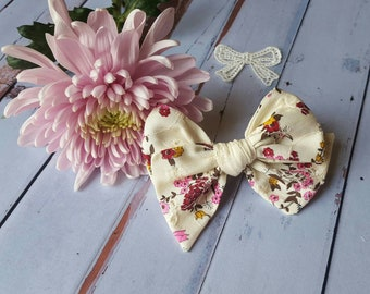 """Large pinwheel vintage 1970's floral eyelet Bow """"CHARLOTTE""""/Baby bow/hair bow/spring/nylon headbands/clip/barrette/baby gift"""
