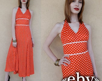 Vintage 70s Red and White Polka Dot Midi Dress XS S Pinup Dress Polka Dot Dress Vintage Sundress Summer Dress Minnie Mouse Dress