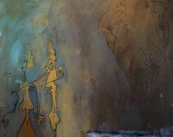 custom original painting - post modern contemporary illustrative art by Sevag Mahserejian