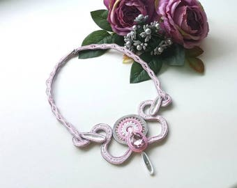 Soutache statement necklace pink