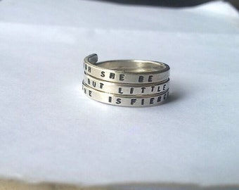 Shakespeare Handstamped Sterling Silver Ring, Though she be but little she is fierce. 925