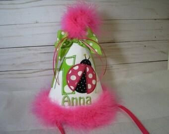 pink ladybug birthday hat, first birthday hat, 2nd birthday, smash cake hat,  ladybug birthday, 1st birthday hat,  pink ladybug birthday