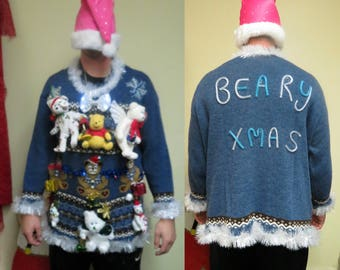 Beary Merry Christmas Ugly Teddy Bear Tacky Ugly Christmas Sweater Sz 18 20 plus size, Light Up Sweater, mens or womens, Bears on Parade
