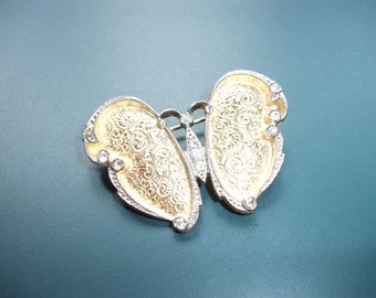 Vintage Etched Clear Glass Rhinestone Butterfly Brooch Pin