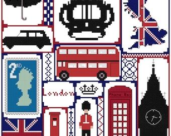 London / cross stitch / British sampler / counted cross stitch / digital PDF pattern / Instant download.