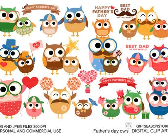 Father's day owl Digital clip art for Personal and Commercial use - INSTANT DOWNLOAD