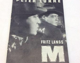 M Fritz Lang Ellen Widmann Peter Lorre Inge Landgut 1931 Vintage Collectible Memorabilia Danish Movie Theater Souvenir Original Programme