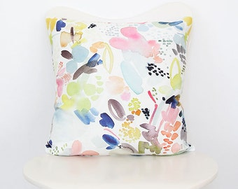 Floral Movement in Orange- Watercolor Throw Pillow