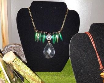 Jewel Beetle Crystal Prism Necklace