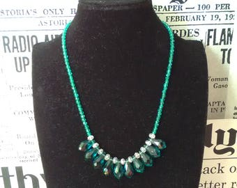 Drops necklace and Emerald crystalline