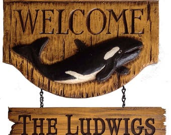 Orca Whale Personalized Name Sign