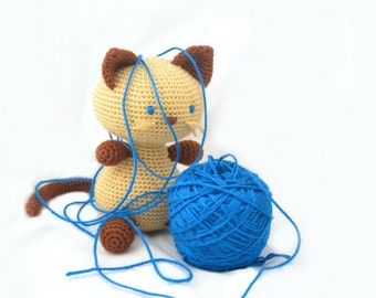 Amigurumi Siamese cat, handmade crochet stuffed animal toy. Toddler soft toy.