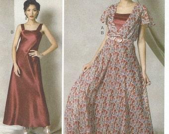 Kathryn Brenne Womens Romantic Evening Dress, Belt and Slip Vogue Sewing Pattern V9168 Size 14 16 18 20 22 Bust 36 38 40 42 44 UnCut