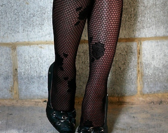 High Quality Black Honeycomb and Floral Nylon Stockings Tights Pantyhose ONE Size