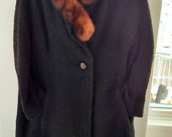 Vintage woman's winter wool coat with fur collar