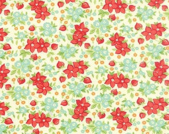 Fabric by Moda: Hello Darling by Bonnie and Camille Cream with red and aqua flowers