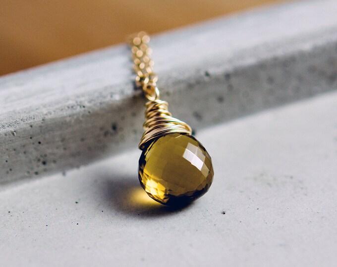 Speakeasy Necklace, Whiskey Quartz, 14k gold filled, Crystal Pendant, Crystal Necklace, Gold Necklace,