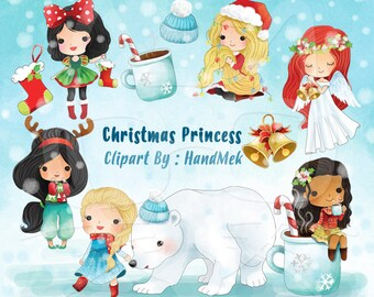 Princess Christmas Clip art instant download PNG file - 300 dpi