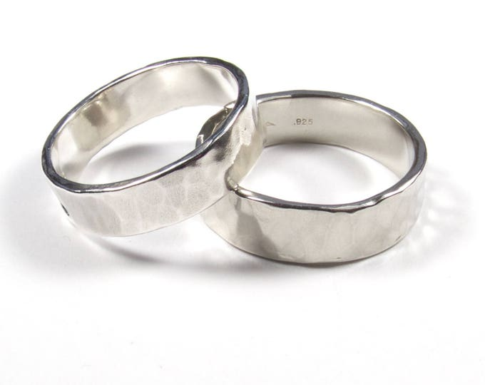 6.5mm Matching Wedding Rings, His and Hers Rings, Hers and Hers Rings, His and His Rings, Rustic wedding band, Hammered Ring, Hand Made Ring