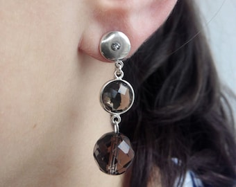 Earrings in smoky quartz and 925 sterling silver