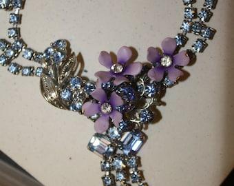 Bridal forget me not vintage rhinestone necklace handmade ooak